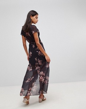photo Floral Maxi Dress by Hope & Ivy, color Black Print - Image 2