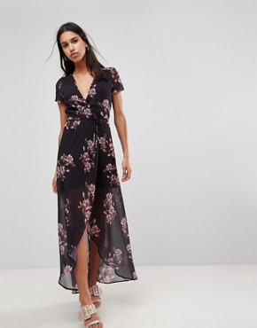 photo Floral Maxi Dress by Hope & Ivy, color Black Print - Image 1
