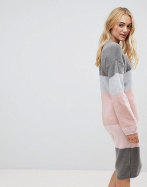 photo Chunky Knitted Dress in Stripe by ASOS TALL, color Grey - Image 2