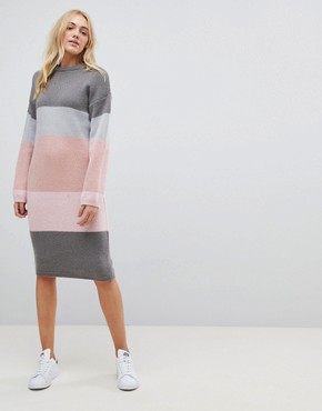 photo Chunky Knitted Dress in Stripe by ASOS TALL, color Grey - Image 4