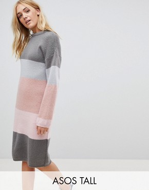 photo Chunky Knitted Dress in Stripe by ASOS TALL, color Grey - Image 1