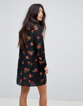 photo Shirt Dress in Western Floral Print by Fashion Union Petite, color Black Multi - Image 2