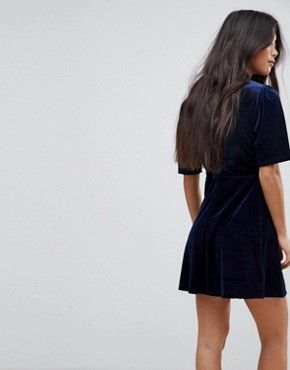 photo Velvet Skater Dress with Puff Sleeves by Fashion Union Petite, color Navy - Image 2