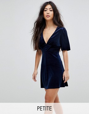photo Velvet Skater Dress with Puff Sleeves by Fashion Union Petite, color Navy - Image 1