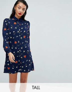 photo Shirt Dress in Floral Folk Print by Fashion Union Tall, color Navy Multi - Image 1