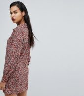 photo Western Shirt Dress in Country Rose Print by Fashion Union, color Rust - Image 2