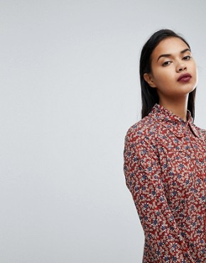 photo Western Shirt Dress in Country Rose Print by Fashion Union, color Rust - Image 3