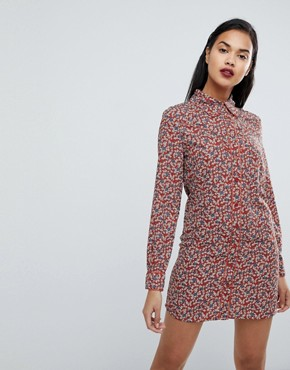 photo Western Shirt Dress in Country Rose Print by Fashion Union, color Rust - Image 1