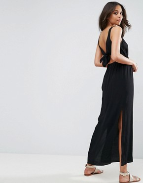 photo Bow Back Maxi Dress by ASOS, color Black - Image 2