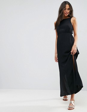 photo Bow Back Maxi Dress by ASOS, color Black - Image 1