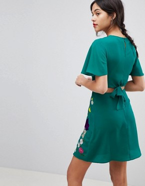 photo Embroidered Cut Out Mini Tea Dress by ASOS ULTIMATE, color Teal - Image 2