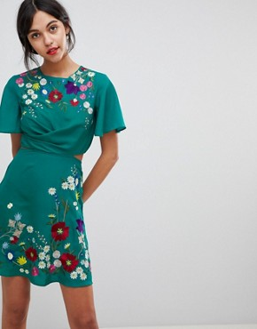 photo Embroidered Cut Out Mini Tea Dress by ASOS ULTIMATE, color Teal - Image 1
