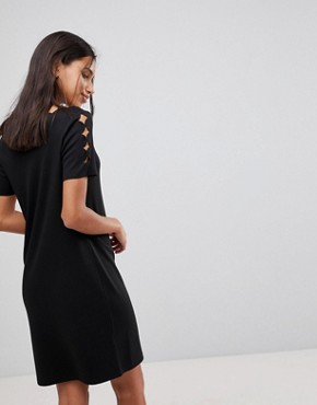 photo Scallop Shift Dress by Y.A.S, color Black - Image 2