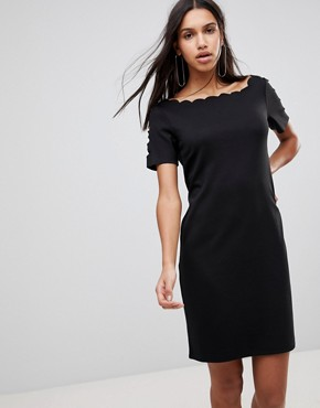 photo Scallop Shift Dress by Y.A.S, color Black - Image 1