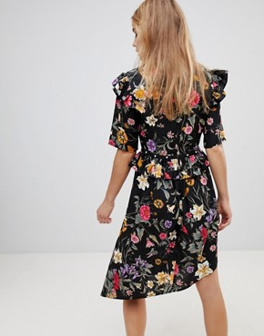 photo Floral Asymmetric Midi Dress with Studded Belt by Influence, color Multi - Image 2