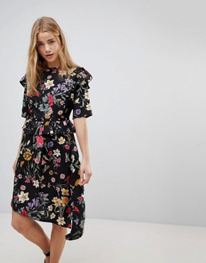 photo Floral Asymmetric Midi Dress with Studded Belt by Influence, color Multi - Image 1