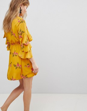 photo Floral Ruffle Detail Dress by Influence, color Mustard - Image 2