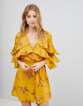 photo Floral Ruffle Detail Dress by Influence, color Mustard - Image 1