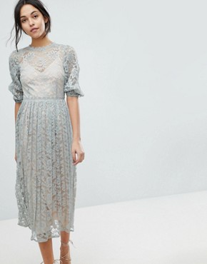 photo All Over Lace Maxi Dress with Balloon Sleeve Detail by Little Mistress, color Waterlily - Image 1