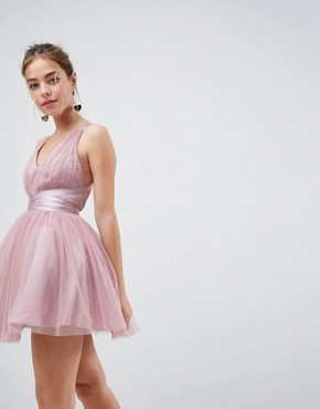 photo Tulle Mini Prom Dress with Ribbon Ties by ASOS PETITE PREMIUM, color Rose Pink - Image 2