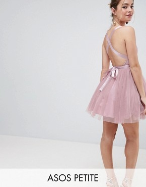 photo Tulle Mini Prom Dress with Ribbon Ties by ASOS PETITE PREMIUM, color Rose Pink - Image 1