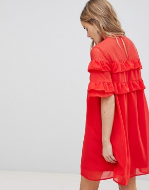photo Shift Dress with Frills by Influence, color Red - Image 2