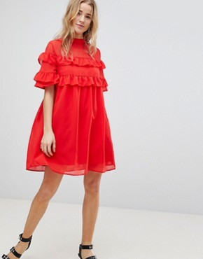 photo Shift Dress with Frills by Influence, color Red - Image 1