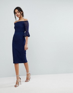 photo All Over Lace Bardot Midi Dress with Fluted Sleeve Detail by Little Mistress, color Navy - Image 2