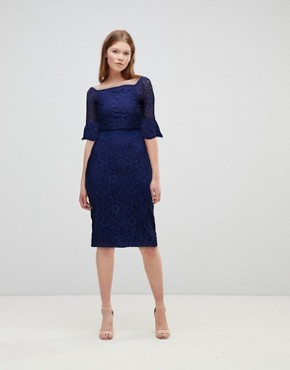 photo All Over Lace Bardot Midi Dress with Fluted Sleeve Detail by Little Mistress, color Navy - Image 1