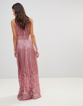 photo Ruffle High Neck Maxi Dress with Lace Pleated Skirt by Little Mistress, color Rose - Image 2