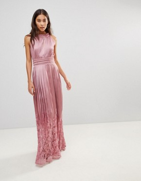 photo Ruffle High Neck Maxi Dress with Lace Pleated Skirt by Little Mistress, color Rose - Image 1