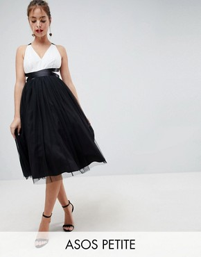 photo Tulle Midi Prom Dress with Ribbon Ties by ASOS PETITE PREMIUM, color Black/White - Image 1