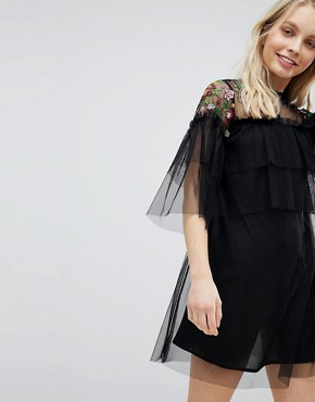 photo Embroidered Mesh Detail Shift Dress by Influence, color Black Floral - Image 1