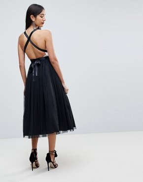 photo Tulle Midi Prom Dress with Ribbon Ties by ASOS TALL PREMIUM, color Black/White - Image 2