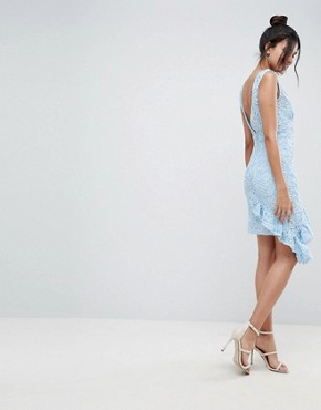 photo Corded Lace Plunge Neck Asymmetric Mini Dress by ASOS TALL, color Blue - Image 2