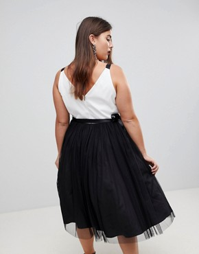 photo Tulle Midi Prom Dress with Ribbon Ties by ASOS CURVE PREMIUM, color Black/White - Image 2
