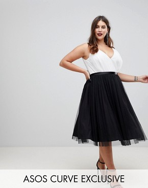 photo Tulle Midi Prom Dress with Ribbon Ties by ASOS CURVE PREMIUM, color Black/White - Image 1