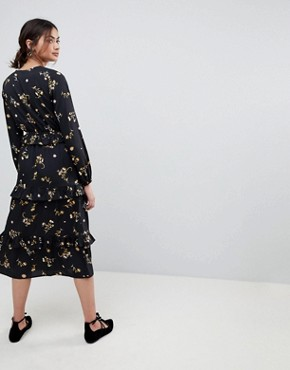 photo Floral Midi Dress with Tiered Hem by Influence Tall, color Black Floral - Image 2