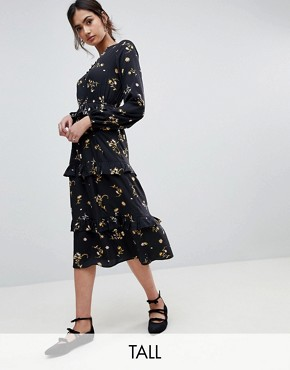photo Floral Midi Dress with Tiered Hem by Influence Tall, color Black Floral - Image 1