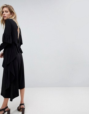 photo Deconstructed Tea Dress with Open Back by ASOS, color Black - Image 2