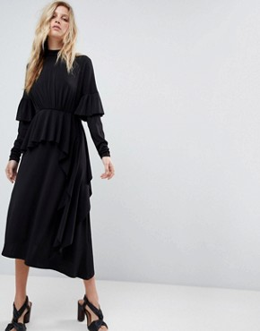 photo Deconstructed Tea Dress with Open Back by ASOS, color Black - Image 1