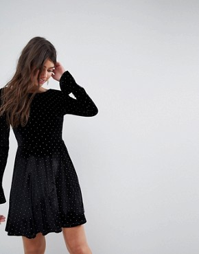 photo Studded Velvet Scoop Back Skater Dress with Frill Cuffs by ASOS, color Black With Gold Studs - Image 2