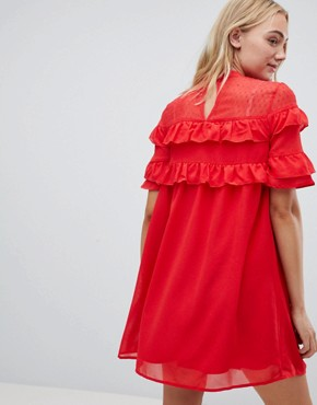 photo Shift Dress with Frills by Influence Tall, color Red - Image 2