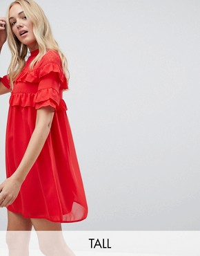 photo Shift Dress with Frills by Influence Tall, color Red - Image 1