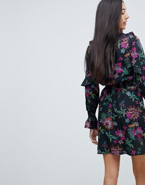 photo Floral Print Dress with Ruffle Details by Influence Tall, color Multi - Image 2