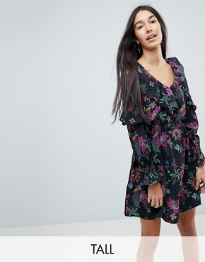 photo Floral Print Dress with Ruffle Details by Influence Tall, color Multi - Image 1