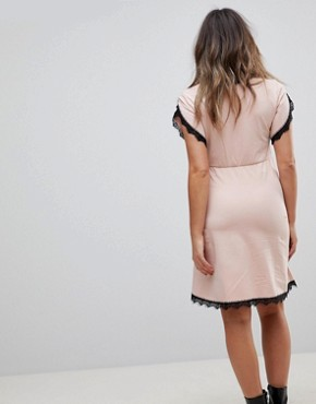 photo Wrap Skater Dress with Lace Insert by ASOS Maternity NURSING, color Nude - Image 2