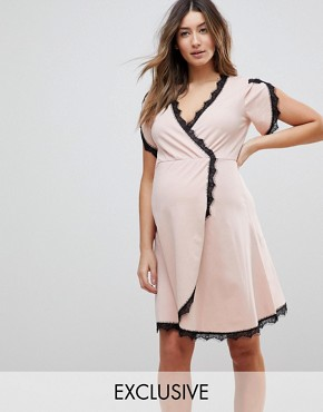 photo Wrap Skater Dress with Lace Insert by ASOS Maternity NURSING, color Nude - Image 1