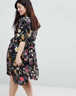 photo Floral Asymmetric Midi Dress with Studded Belt by Influence Plus, color Multi - Image 2