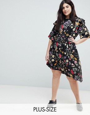 photo Floral Asymmetric Midi Dress with Studded Belt by Influence Plus, color Multi - Image 1